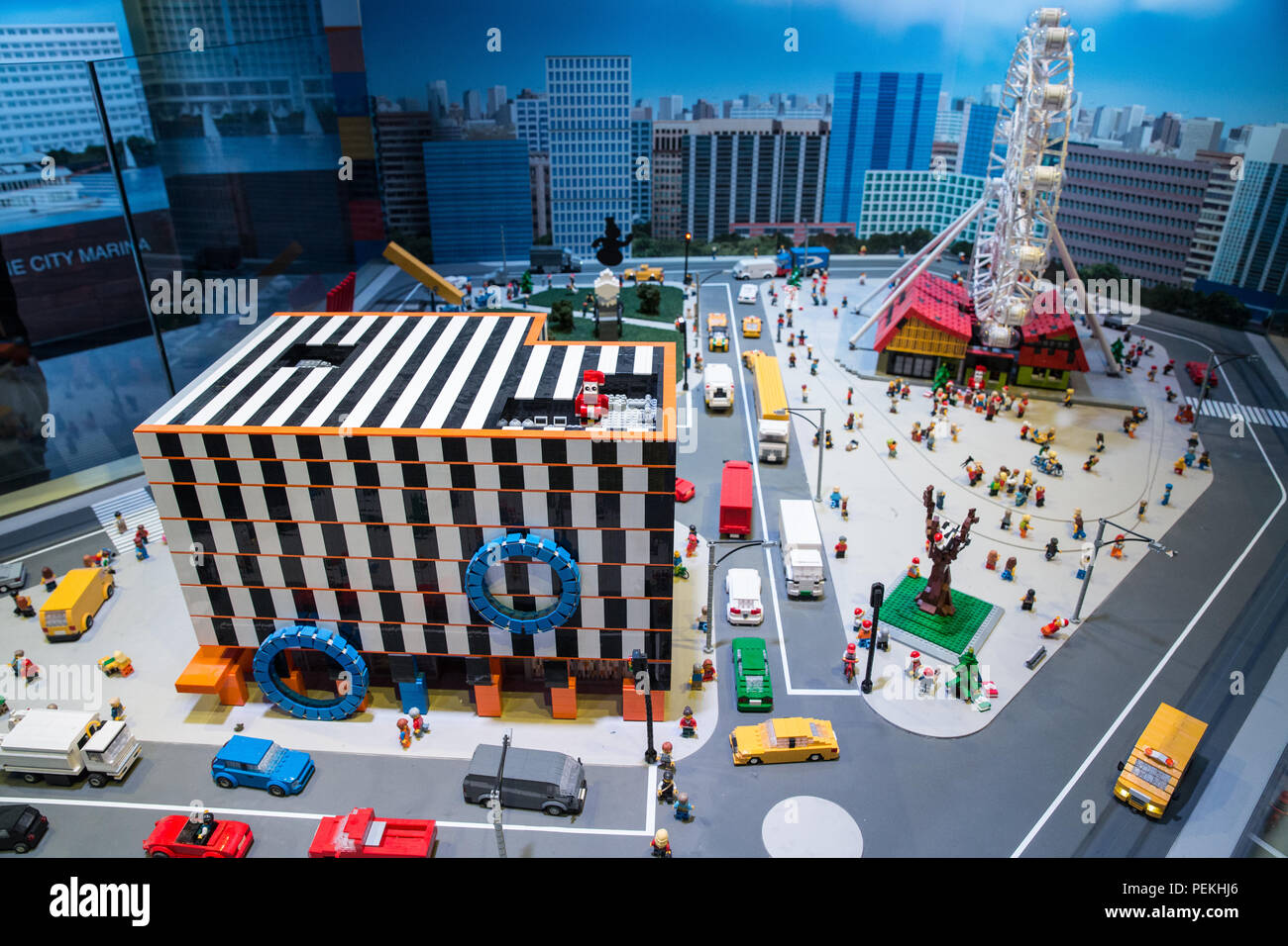 Lego model of Melbourne Docklands at Legoworld Discovery Centre, Chadstone - Stock Image