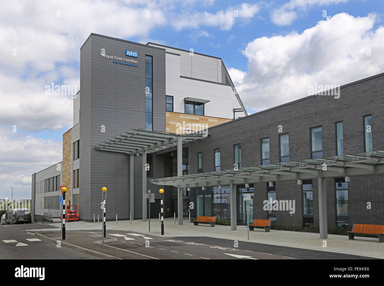 Main entrance to the new NHS Royal Free Hospital on the Chase Farm Hospital site, Enfield, north London. Opening Summer 2018 Stock Photo