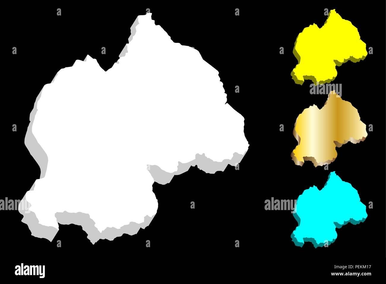 3D map of Rwanda (Republic of Rwanda) -  white, yellow, blue and gold - vector illustration - Stock Vector