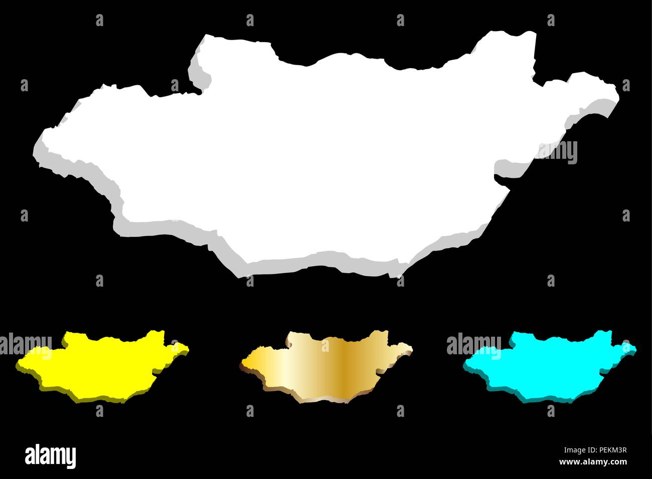 3D map of Nepal Mongolia - white, yellow, blue and gold - vector illustration - Stock Vector