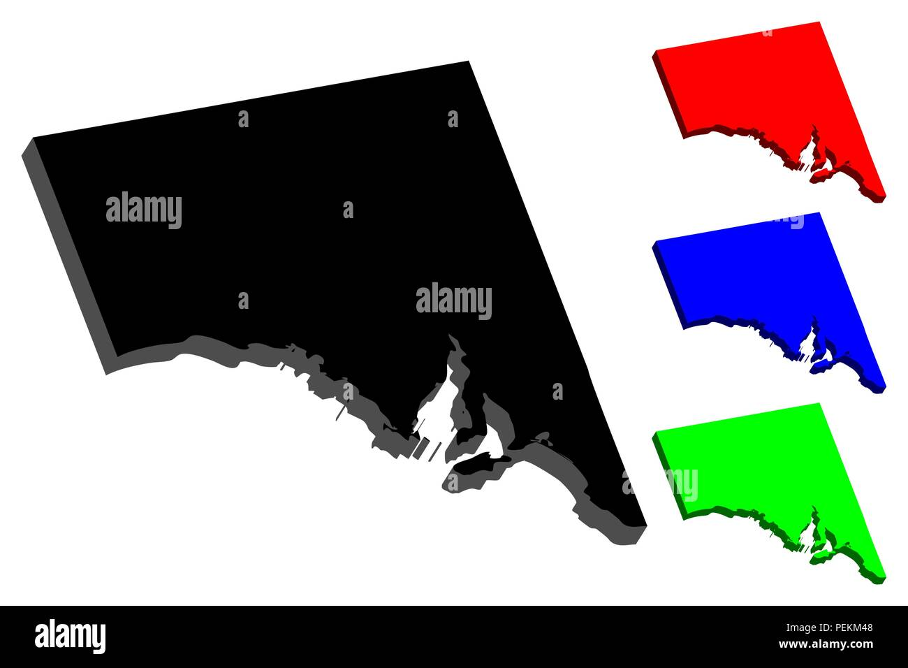 3D map of South Australia (Australian states and territories, SA) - black, red, blue and green - vector illustration Stock Vector