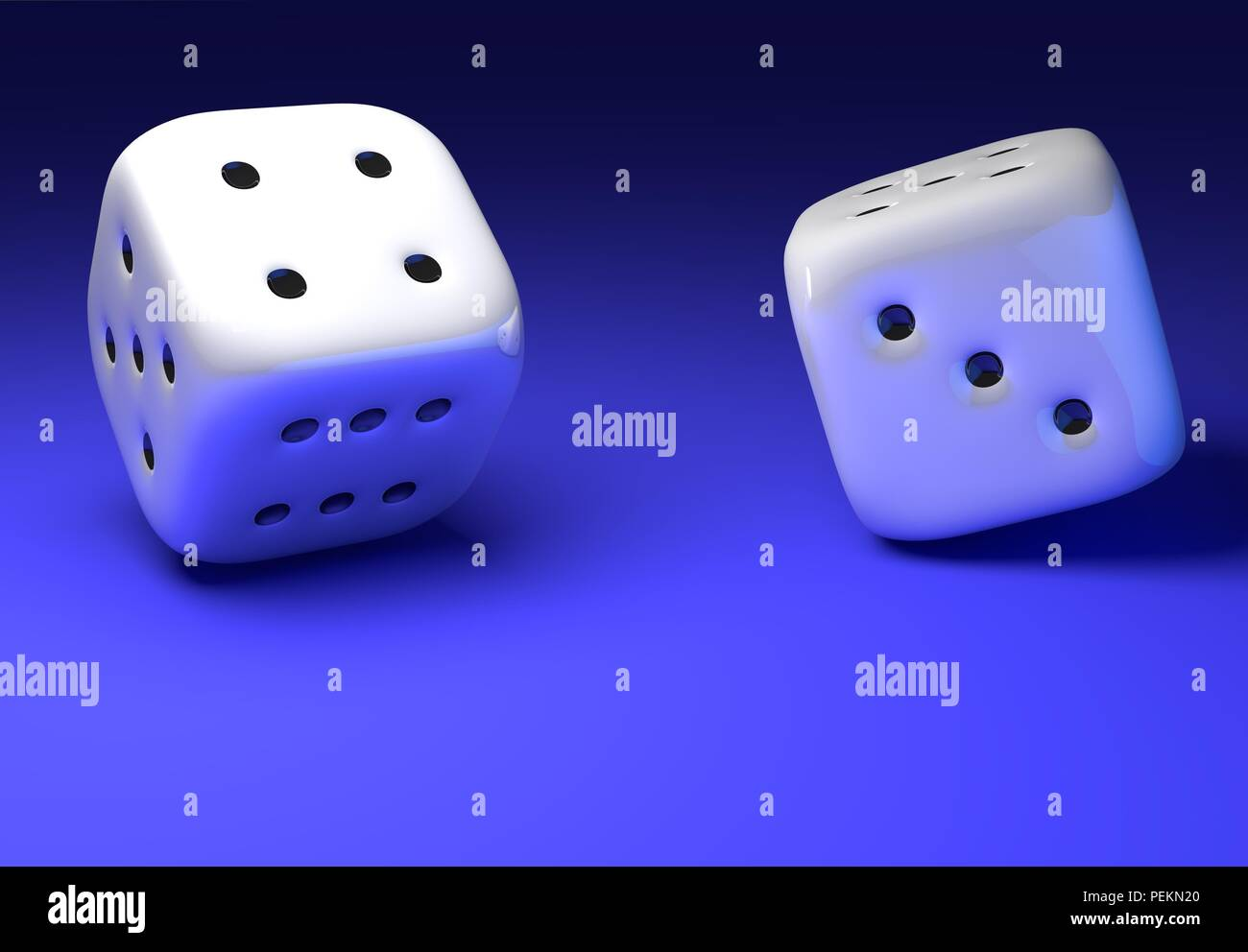 Dice Photo. Double dices are throwed and on move. Dynamical Photo of Two Dices on blue table. - Stock Image