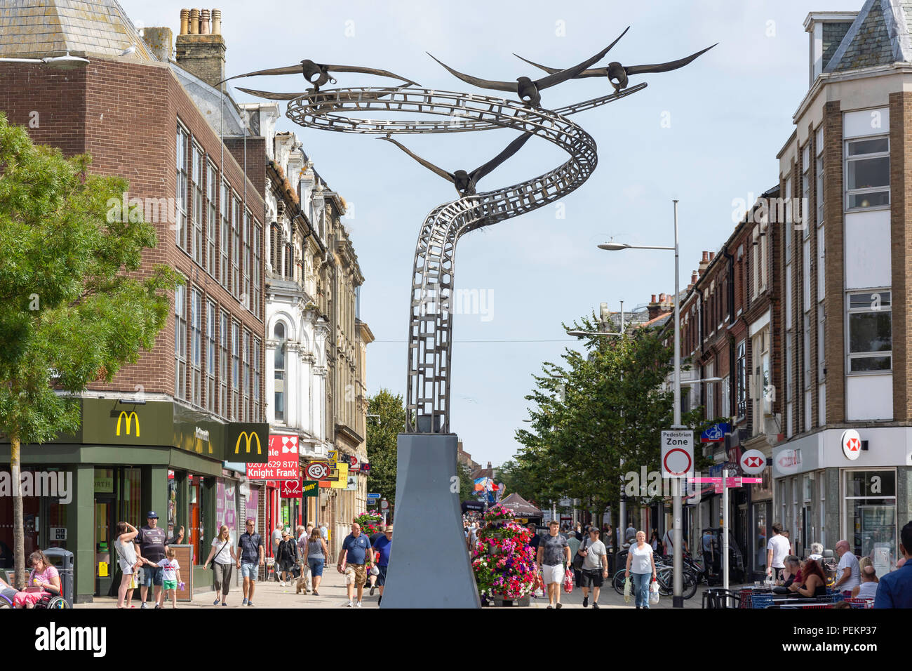 The Spirits of Lowestoft sculpture and London Road North, Station Square, Lowestoft, Suffolk, England, United Kingdom - Stock Image