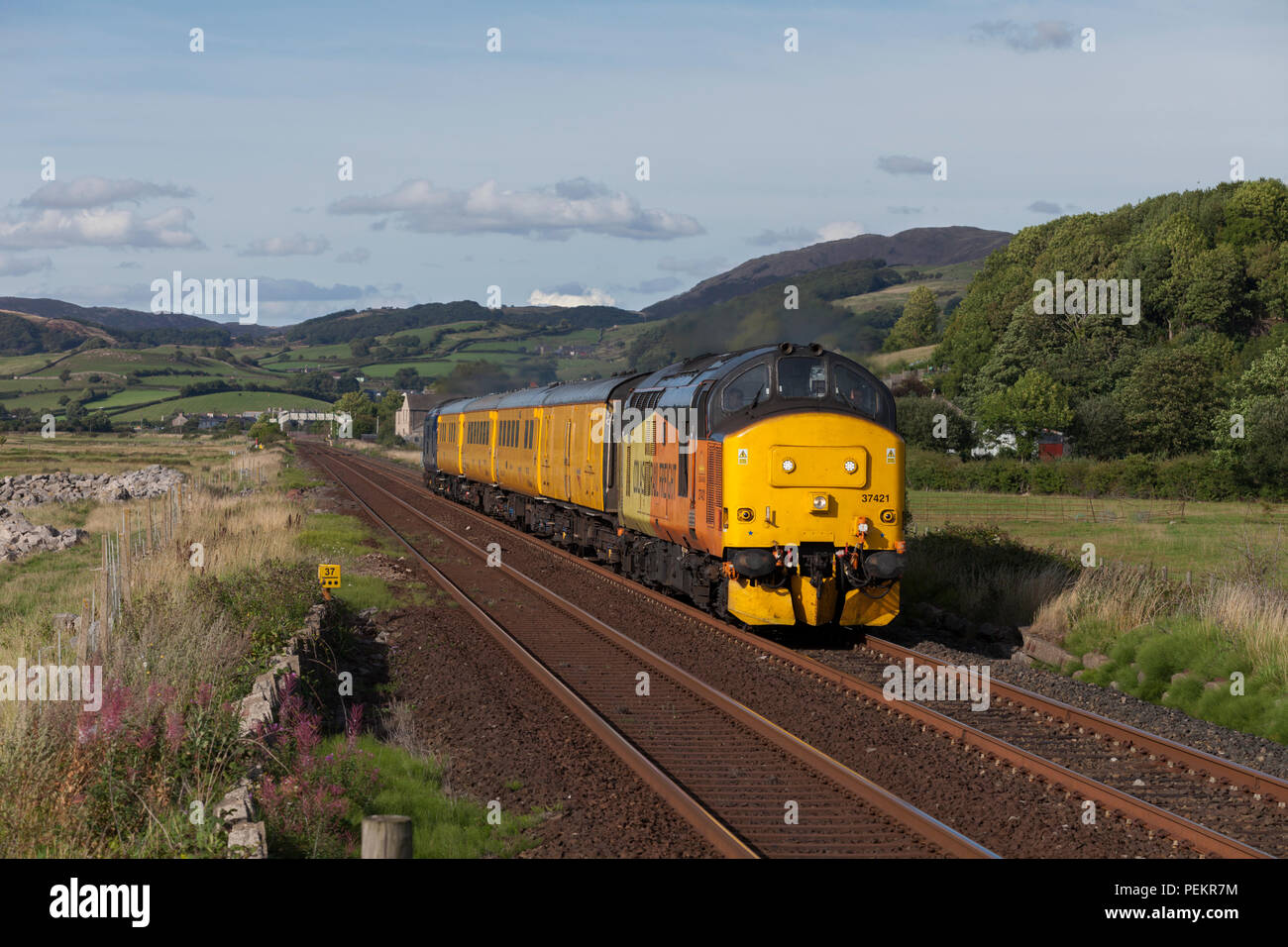 A Colas Railfright class 37 locomotive at Kirkby In Furness on the Cumbrian coast line hauling the Network Rail Plain Line pattern recognition train Stock Photo