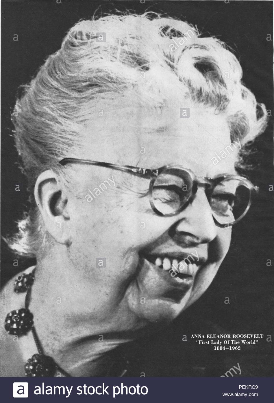 Eleanor Roosevelt (October 11, 1884 – November 7, 1962) was an American political figure, diplomat and activist. She served as the First Lady of the United States from 1933 to 1945 during her husband President Franklin D. Roosevelt's four terms in office, making her the longest serving First Lady of the United States. She served as United States Delegate to the United Nations General Assembly from 1945 to 1952. President Harry S. Truman later called her the 'First Lady of the World' in tribute to her human rights achievements. - Stock Image