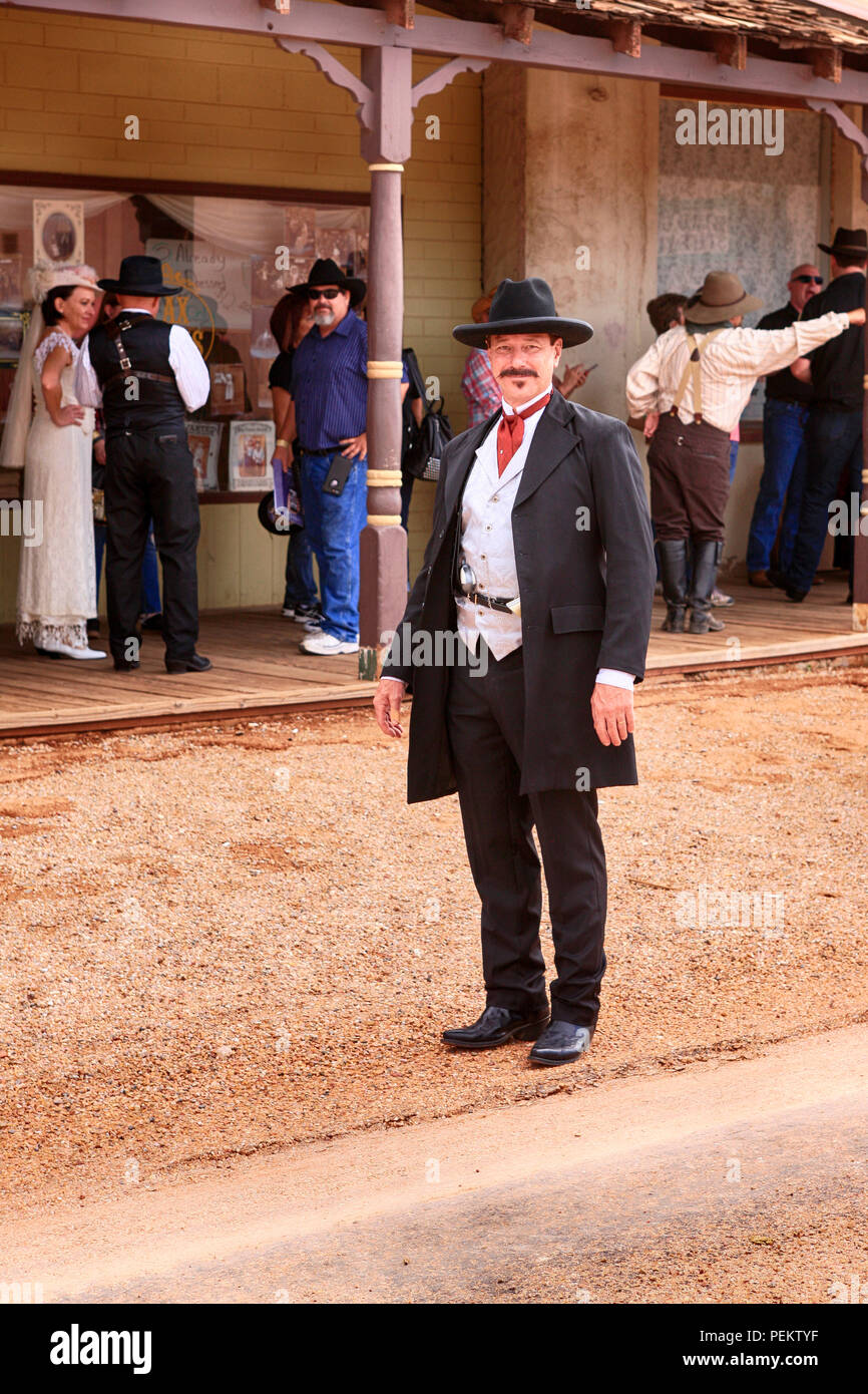 Man in period clothing as Wyatt Earp at the annual Doc Holiday event in Tombstone, Arizona - Stock Image