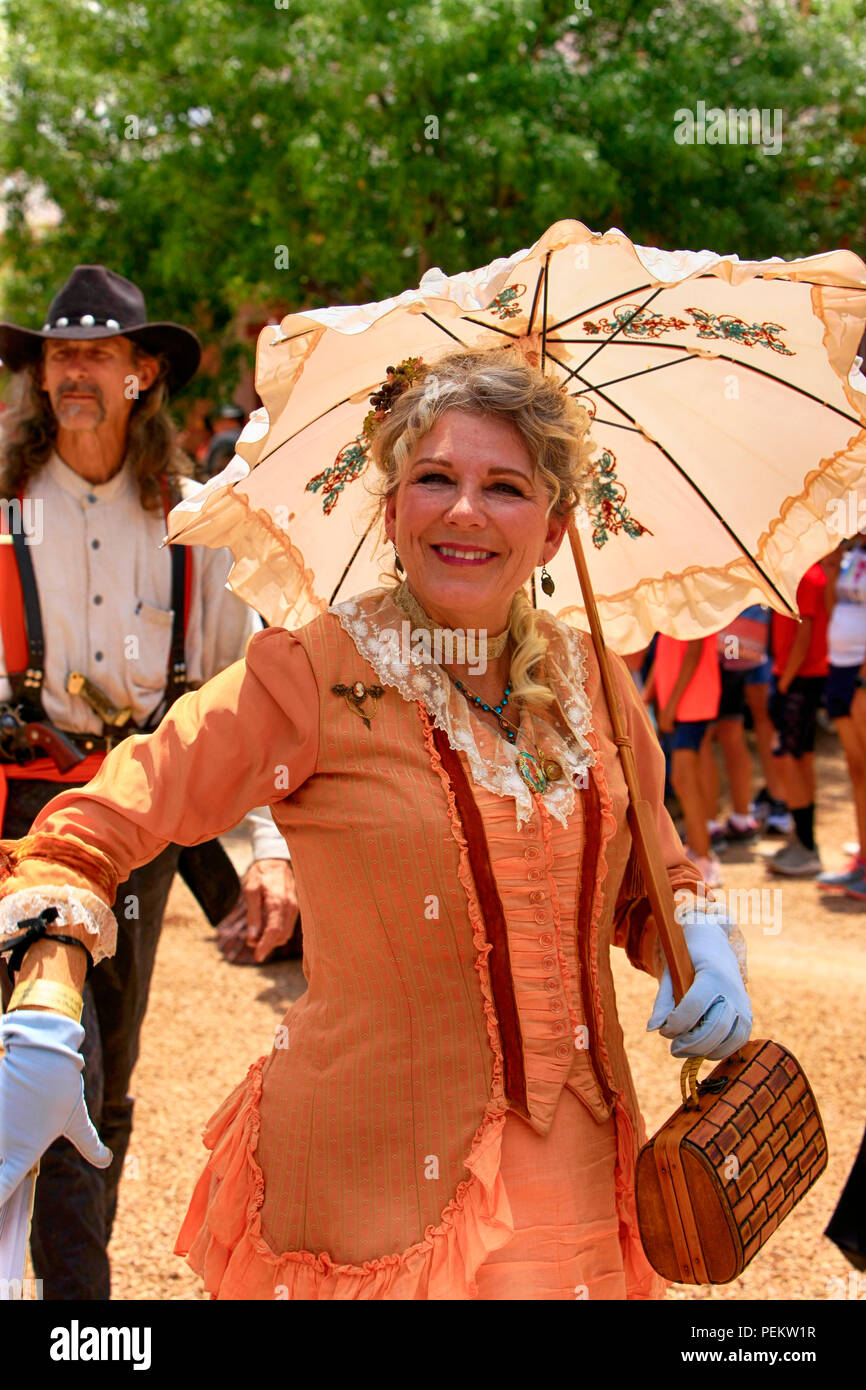 Local lady of distinction at the annual Doc Holiday event in downtown Tombstone, Arizona - Stock Image