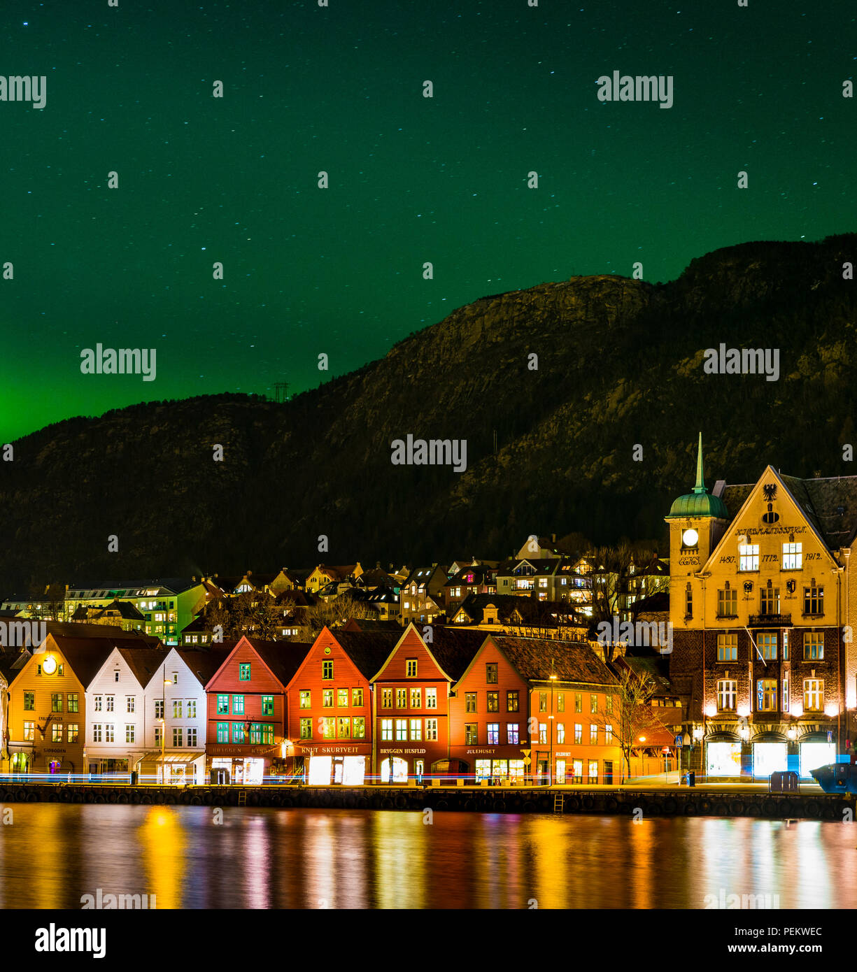 Northern Lights above Bryggen in Bergen, Norway - Stock Image