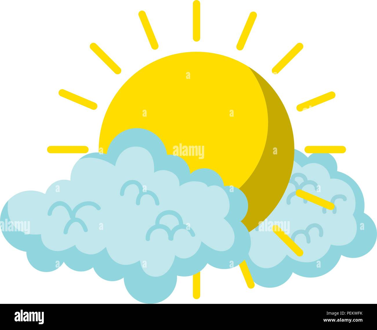 bright sun weather and fluffy clouds - Stock Image