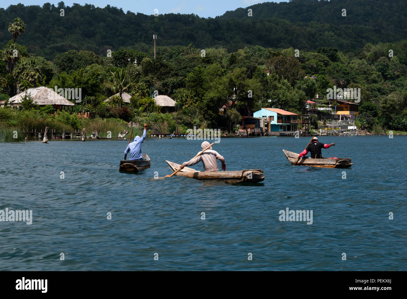 Citizens of near by towns living as they normally do in Lake Atitlan, Solola, Guatemala. 14 July 2018 - Stock Image