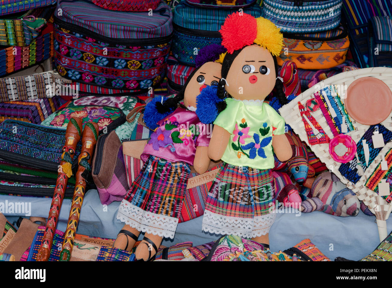 Hand made dolls with traditional stichting. Solola, Guatemala 14 July 2018 - Stock Image