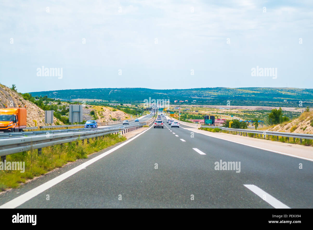 Highway A1 vicinity of Zadar, Croatia, July 1 2018: A1 Highway in Croatia from Zagreb to Split and Adriatic sea is one of the busiest highways during  Stock Photo