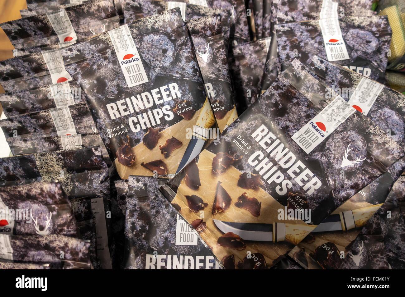 Finnish Lapland food: bags of Reindeer Chips; Reindeer Crisps for sale in Helsinki Finland. - Stock Image