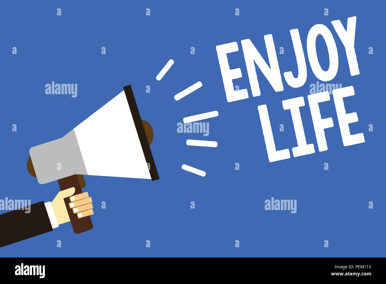 Handwriting text writing Enjoy Life. Concept meaning Any thing, place,food or person, that makes you relax and happy Man holding megaphone loudspeaker - Stock Image