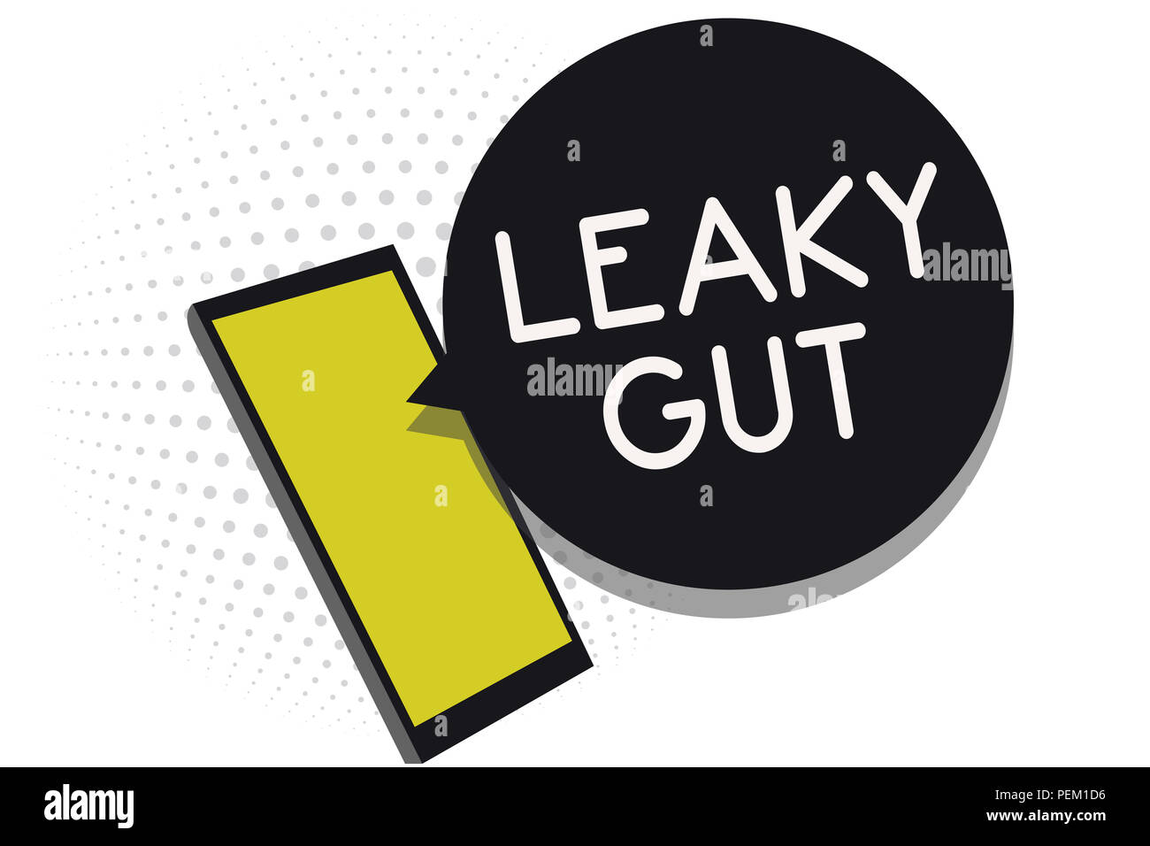 Writing note showing Leaky Gut. Business photo showcasing A condition in which the lining of small intestine is damaged Cell phone receiving text mess - Stock Image