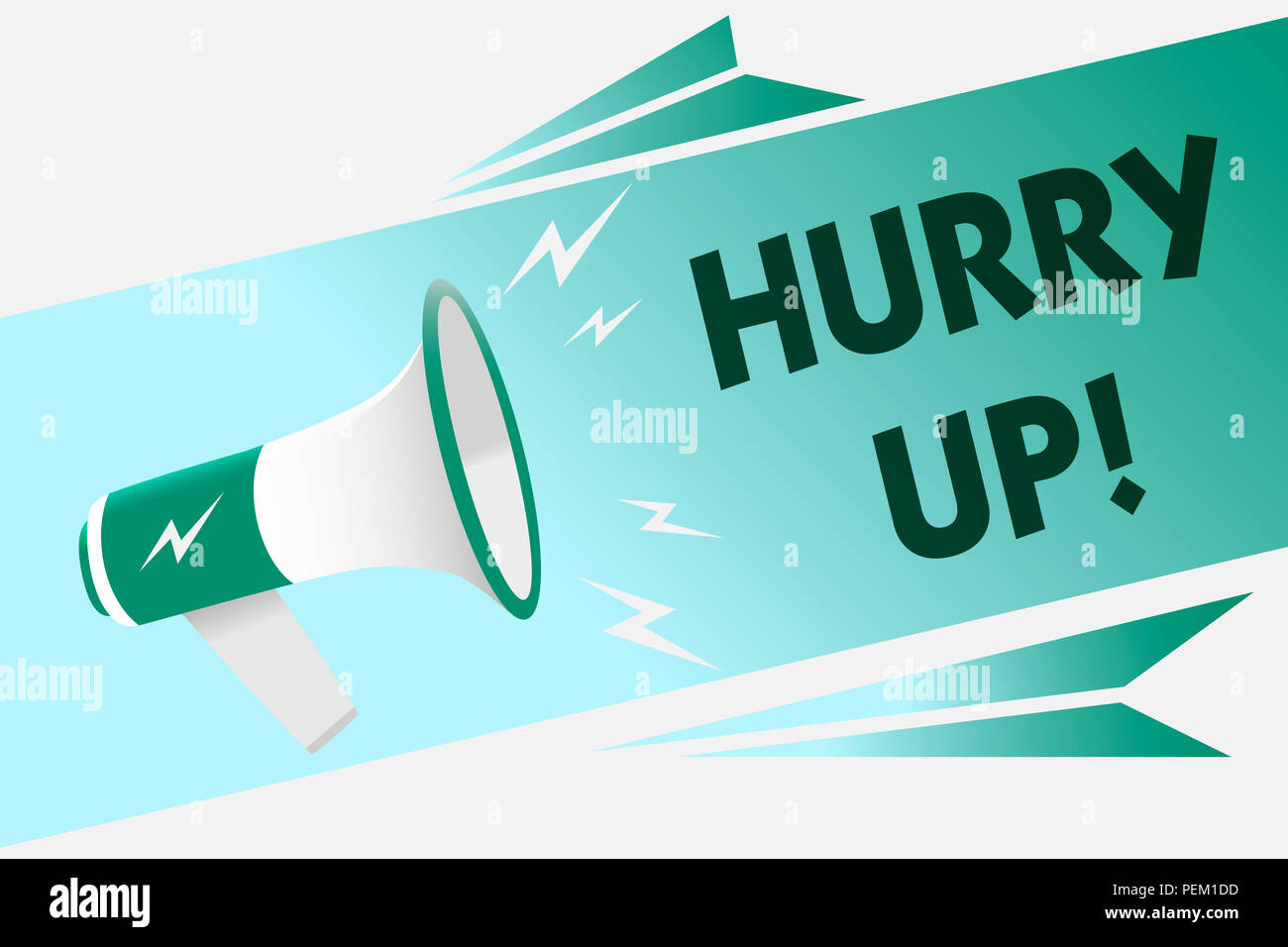 Conceptual hand writing showing Hurry Up. Business photo showcasing To move,proceed,or act,with haste at the best of your speed Megaphone loudspeaker  - Stock Image