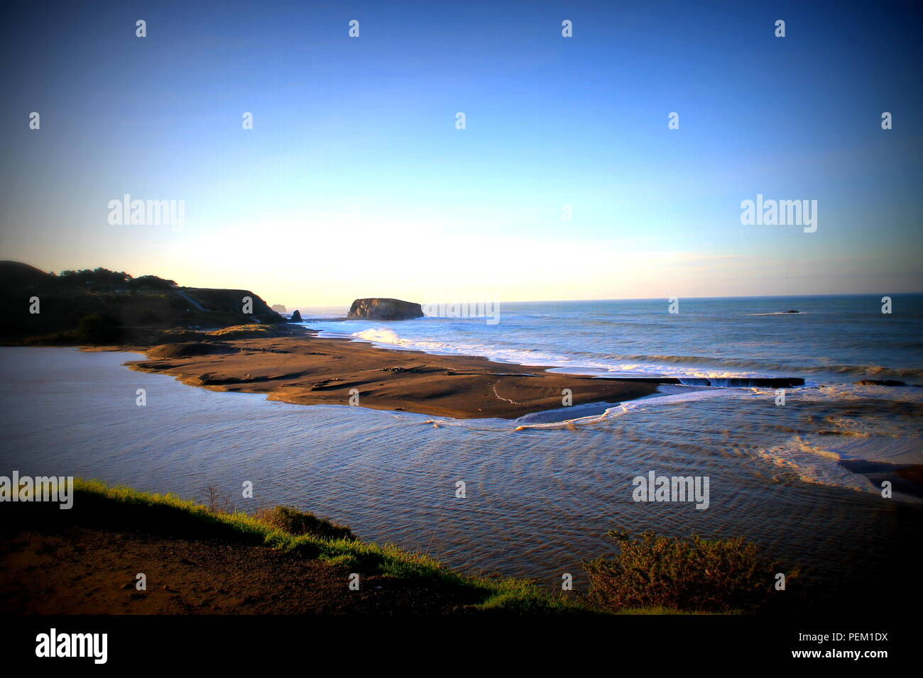 Where Russian River meets Pacific Ocean.  Jenner, Northern California along HWY 1, Sonoma County; Goat Rock Beach - Stock Image