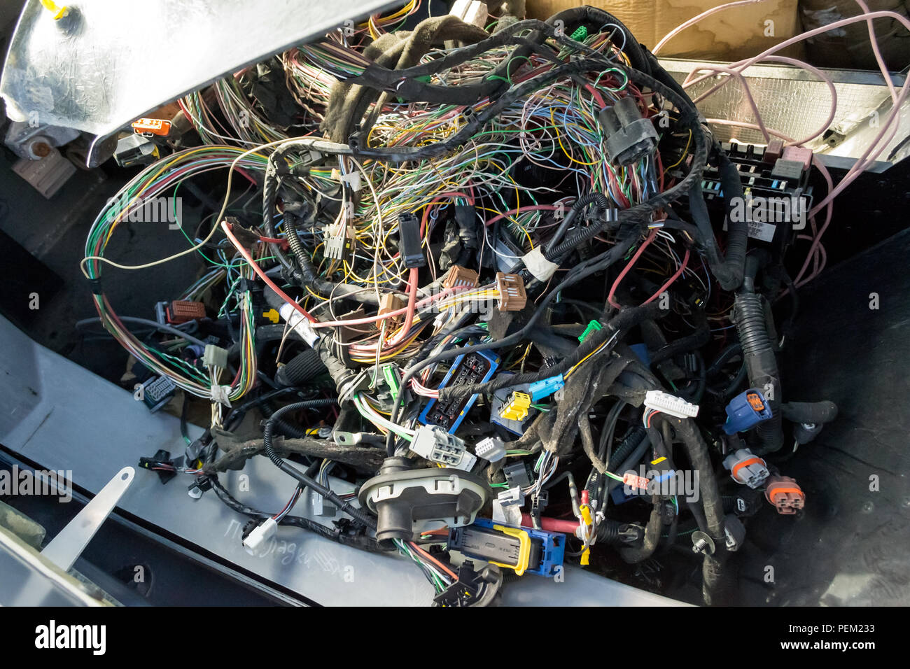 A Large Tangle Of Ravel Multicolored Wires From The Car Wiring Lies In The Cabin Of The Dismantled Car With Connectors And Plugs A View Through The W Stock Photo Alamy
