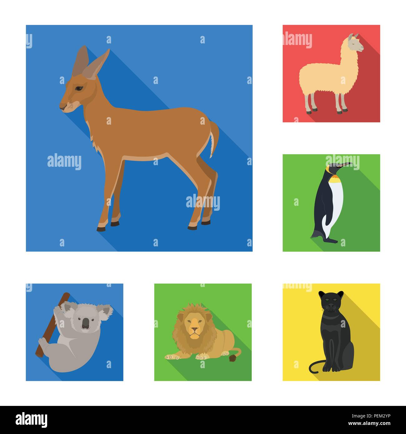 Different Animals Flat Icons In Set Collection For Design Bird
