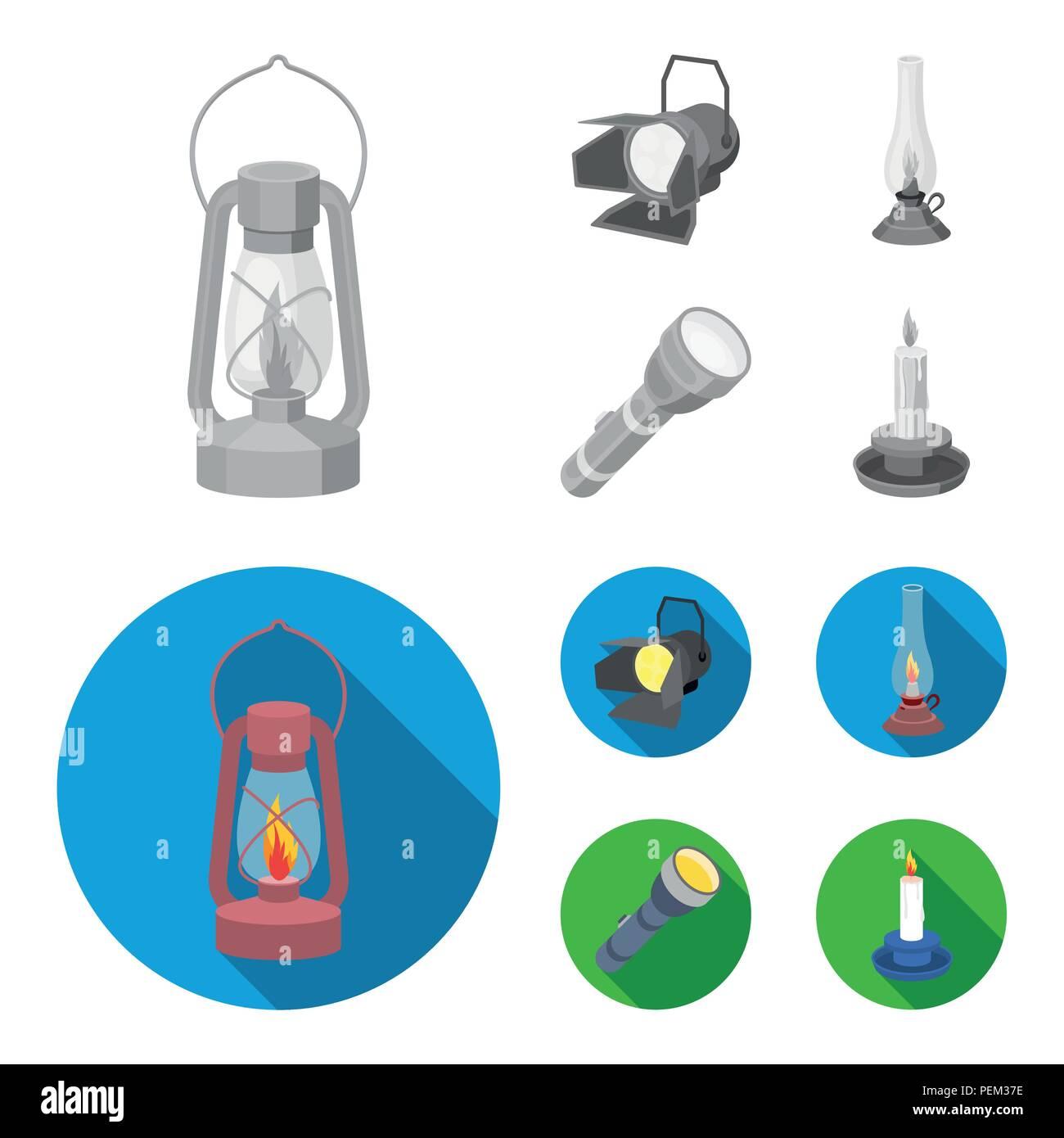 Searchlight, kerosene lamp, candle, flashlight.Light source set collection icons in monochrome,flat style vector symbol stock illustration . - Stock Image
