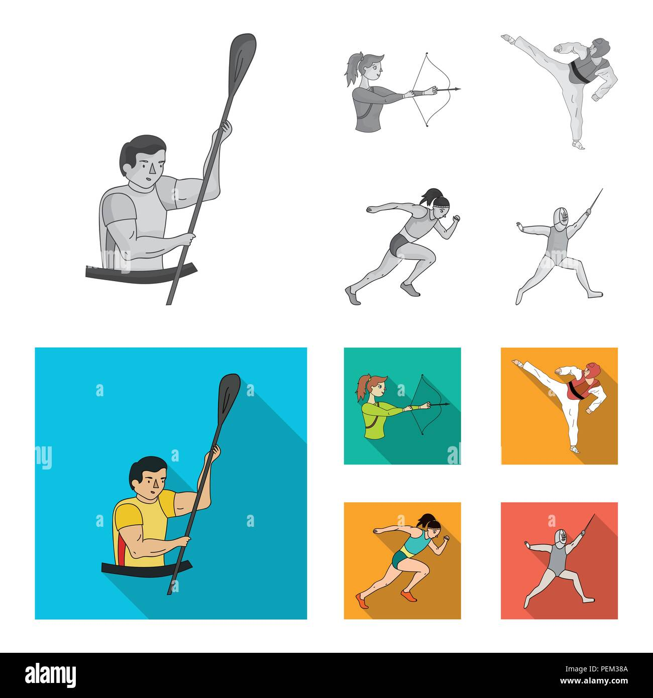 Archery, karate, running, fencing. Olympic sport set collection icons in monochrome,flat style vector symbol stock illustration . - Stock Vector
