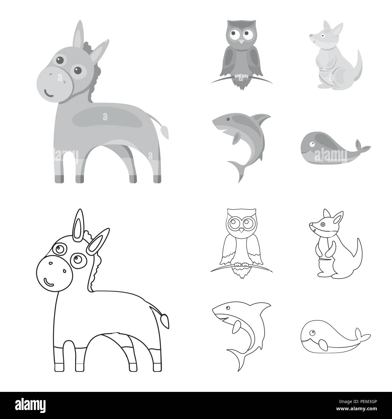 Donkey, owl, kangaroo, shark.Animal set collection icons in outline,monochrome style vector symbol stock illustration . - Stock Image