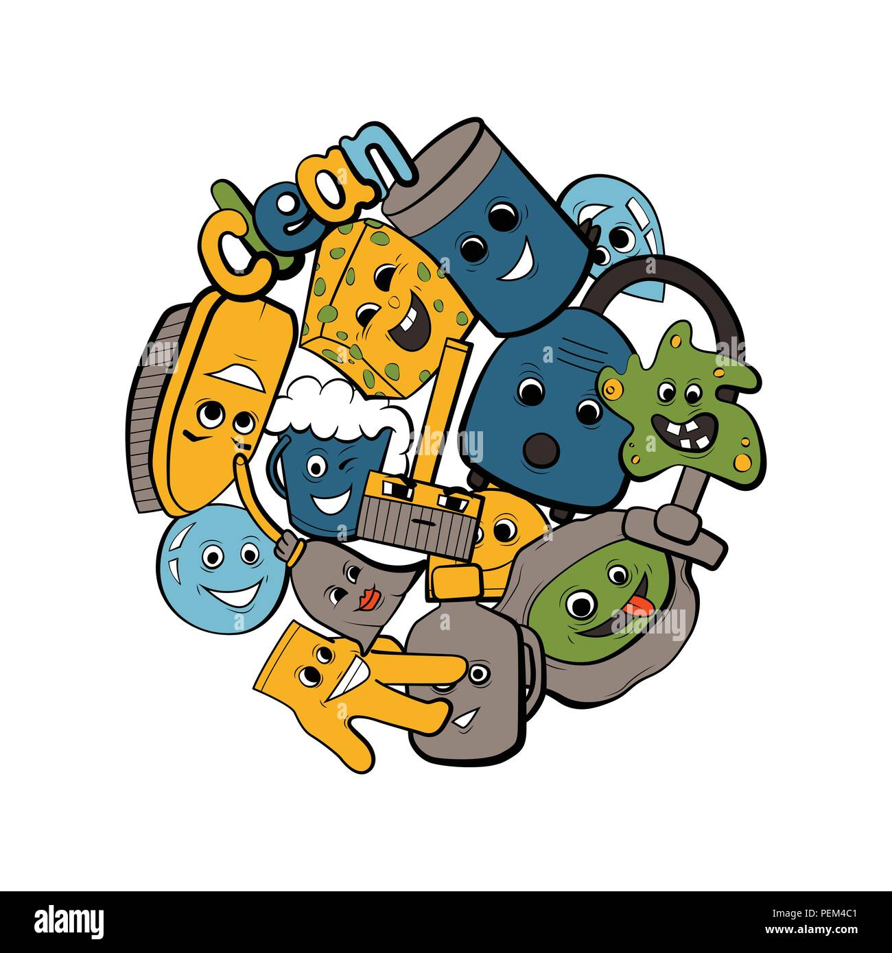 Cleaning design vector illustration. Coloring book. Fun character ...