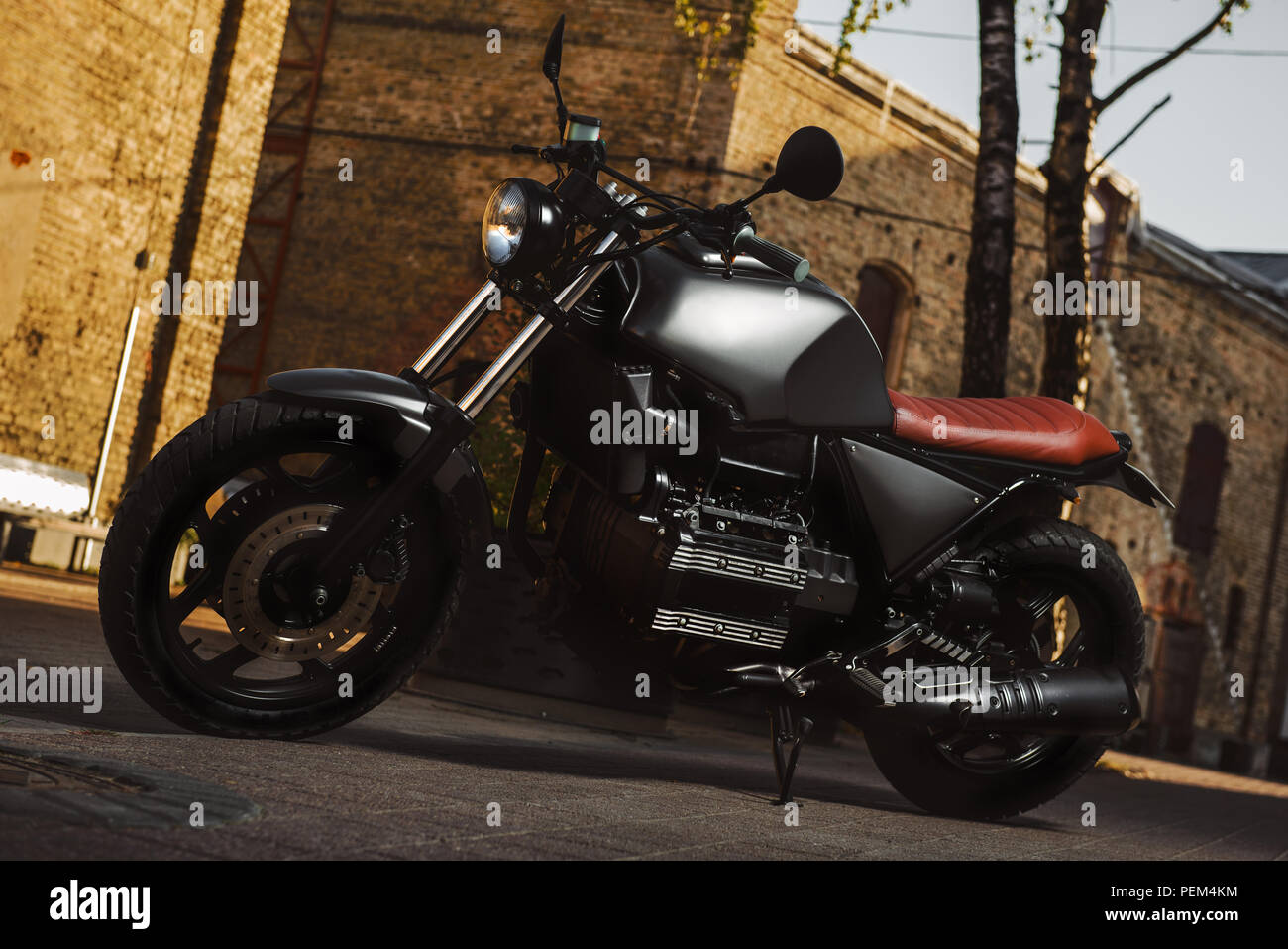 Cafe-racer motorcycle outdoor - Stock Image