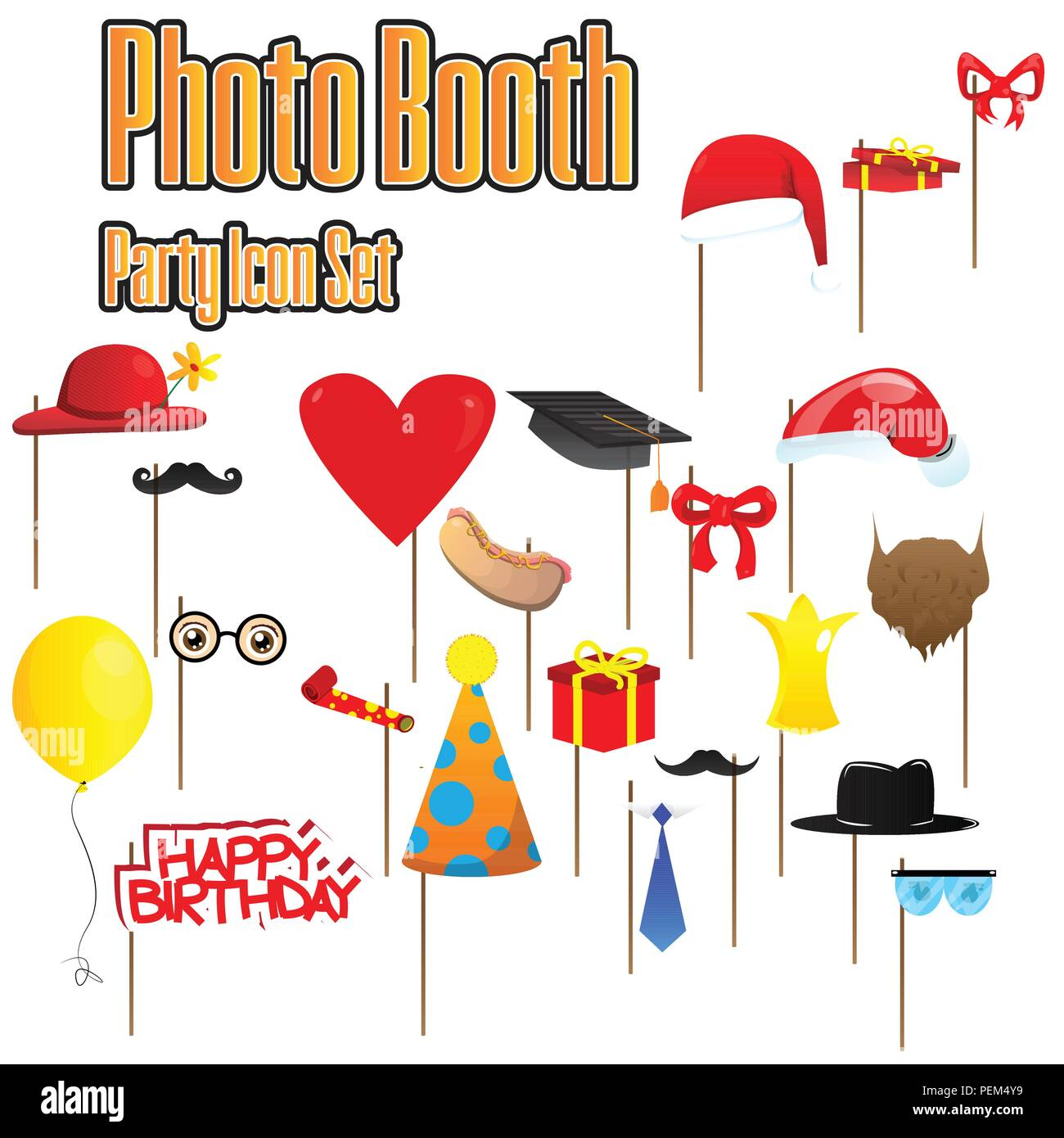 set of party photobooth props vector illustrated elements on sticks