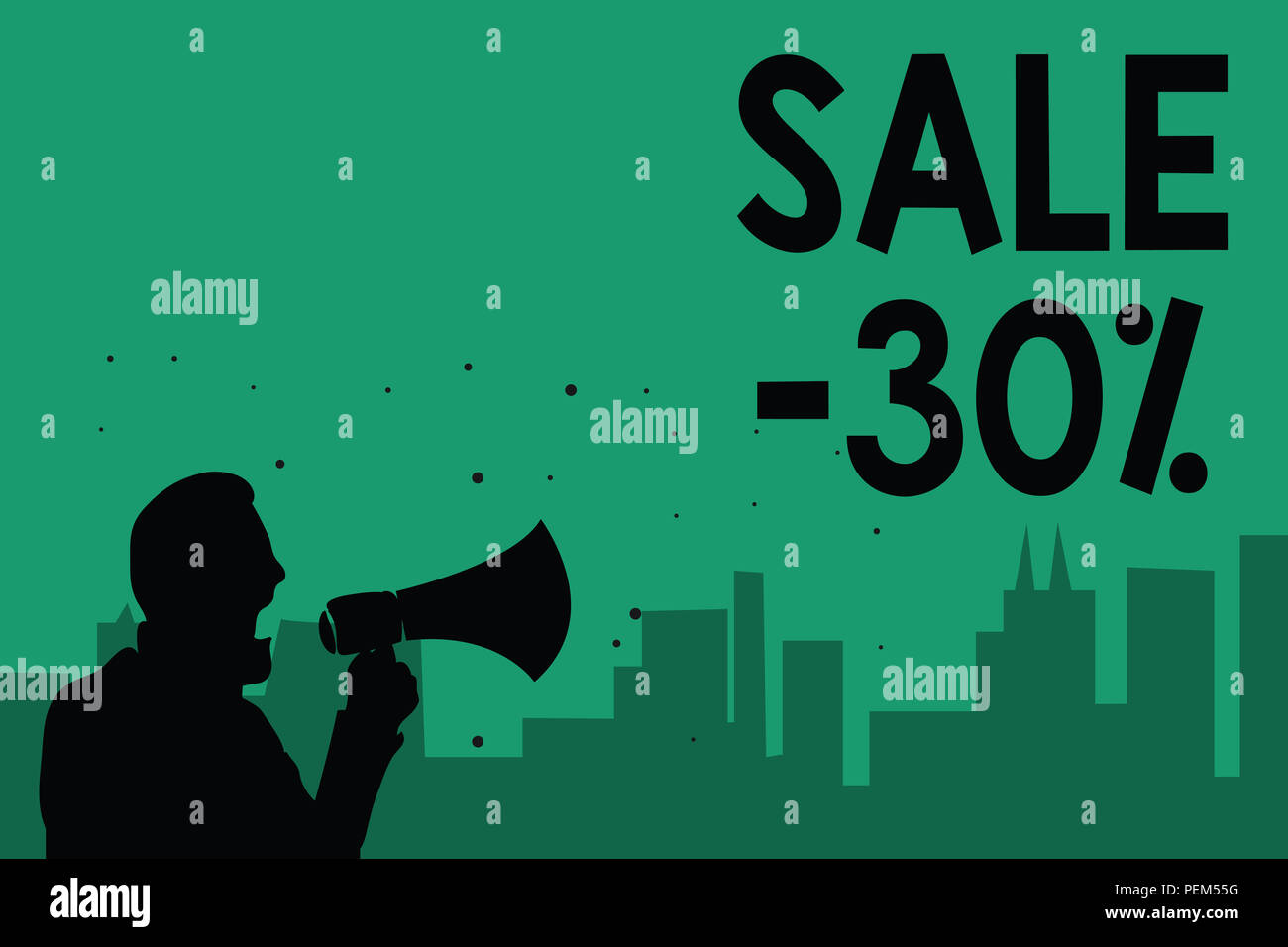 Word writing text Sale 30. Business concept for A promo price of an item at 30 percent markdown Man holding megaphone speaking politician making promi - Stock Image