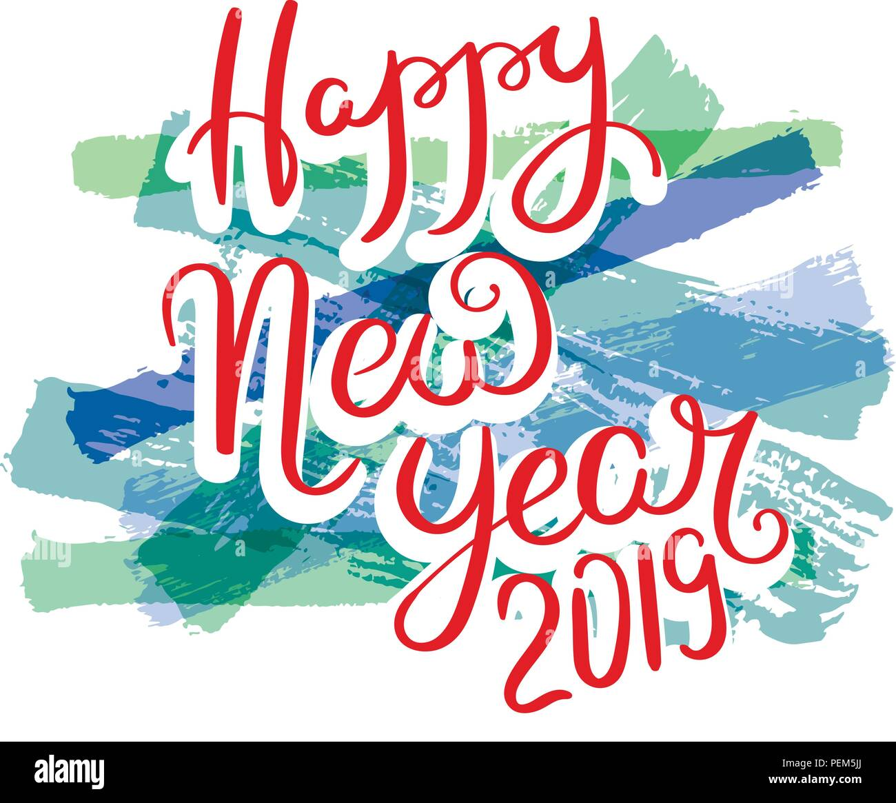 Happy New Year 2019 Hand Drawn Motivation Quote Creative Vector