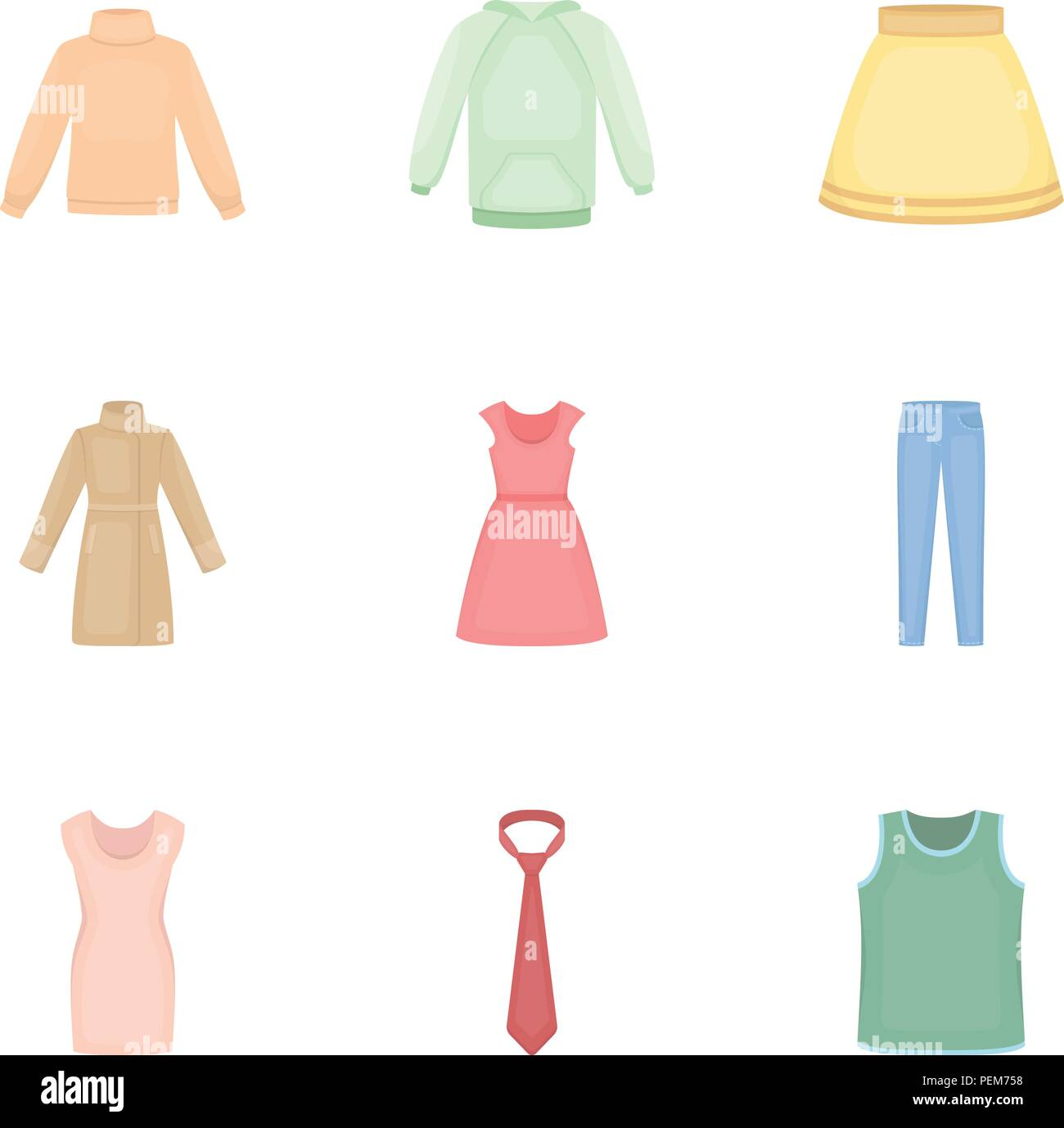 Clothes set icons in cartoon style. Big collection of clothes vector symbol stock - Stock Vector