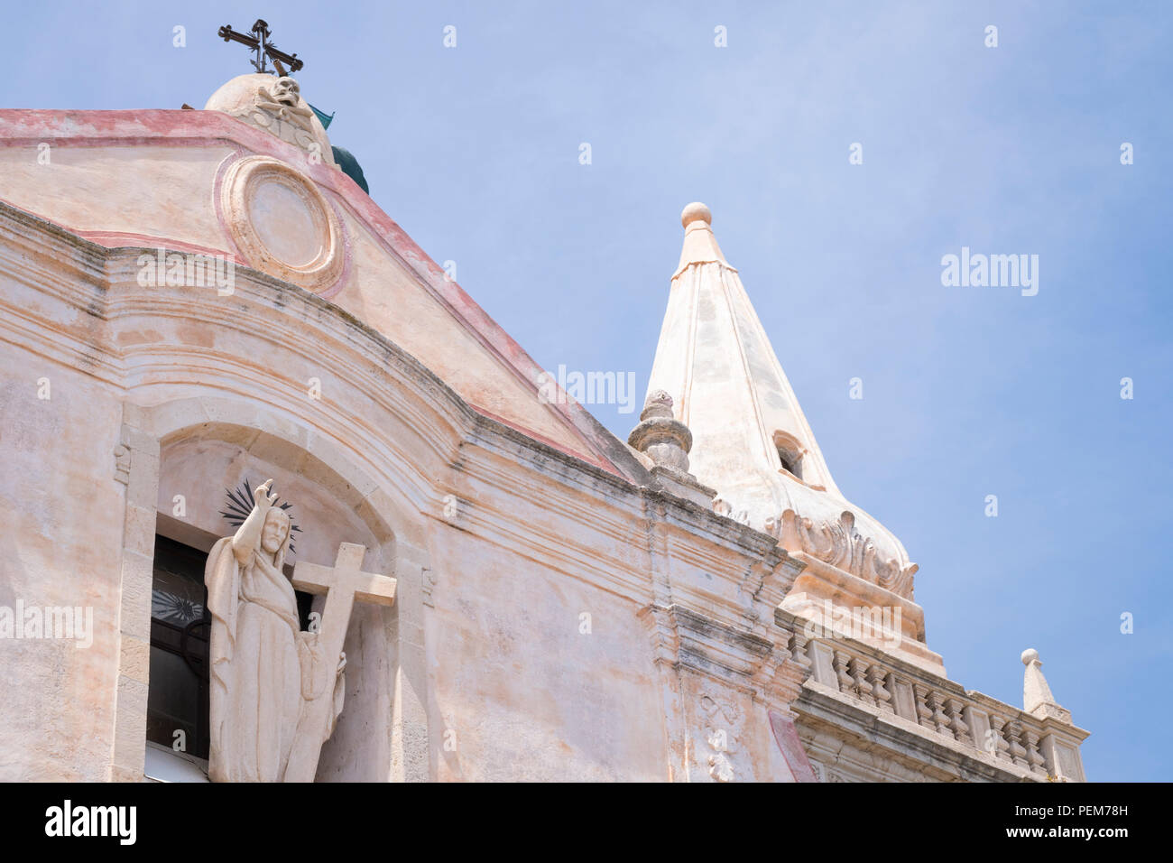 Italy Sicily Monte Tauro famous luxury tourist resort Taormina detail Church Chiesa di San Giuseppe statue sculpture under renovation - Stock Image
