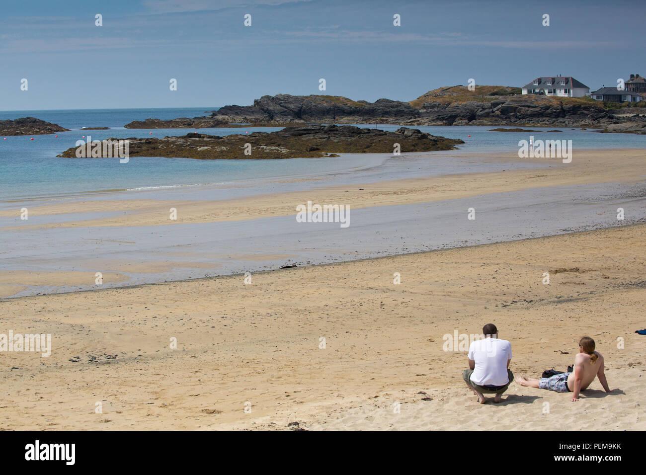Trearddur Bay on a hot summer's day - Stock Image