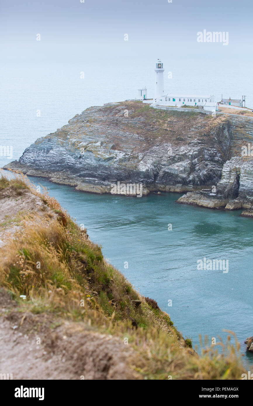 South Stack Lighthouse, Holyhead on Anglesey Stock Photo