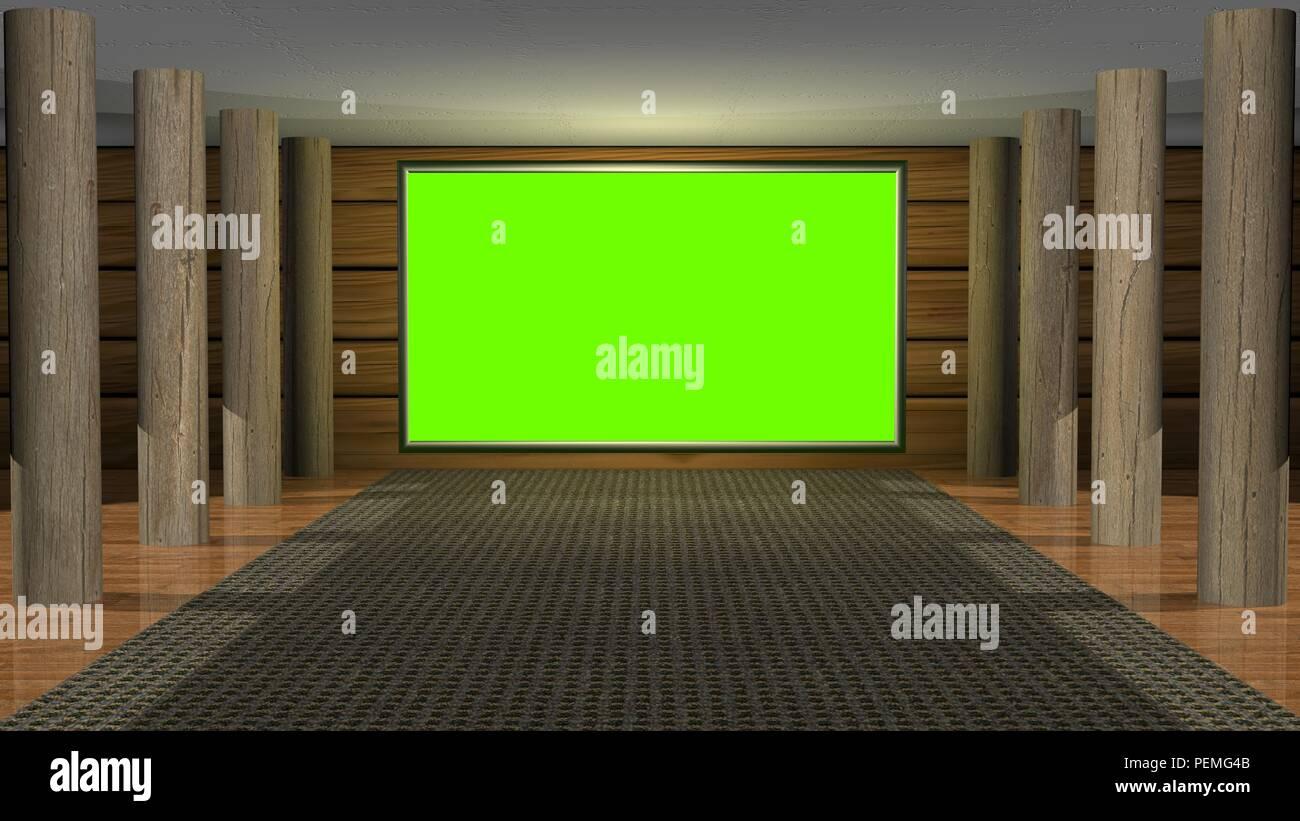 Virtual studio set background  Wood theme  Green screen  3d