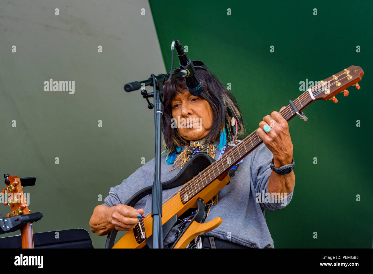 Buffy Sainte-Marie performs at Canmore Folk Music Festival, Canmore, Alberta, Canada. Stock Photo