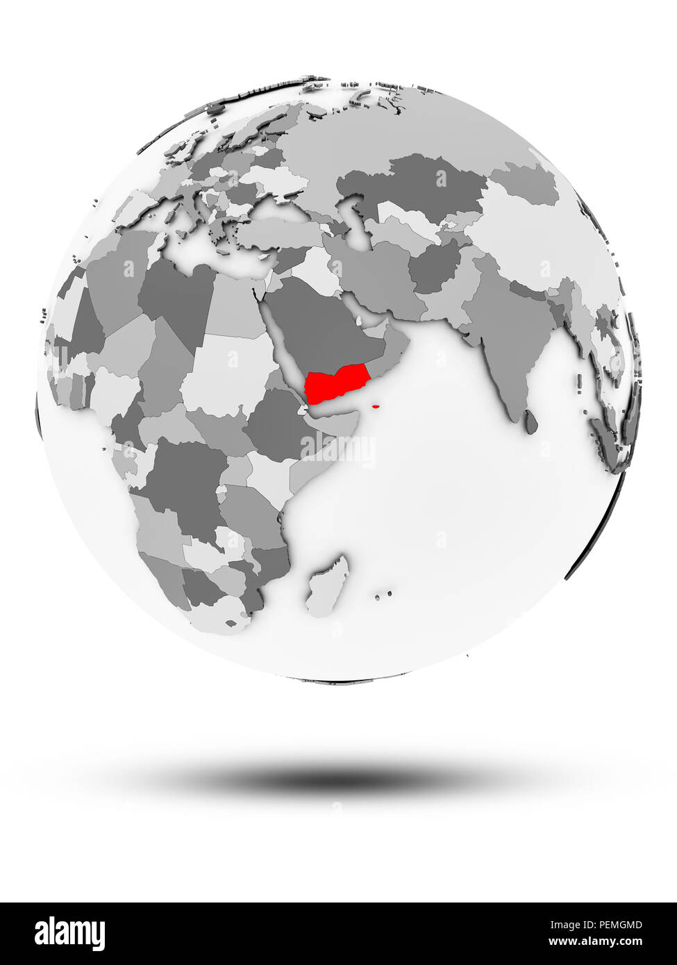 Yemen on simple gray globe with shadow isolated on white background. 3D illustration. - Stock Image