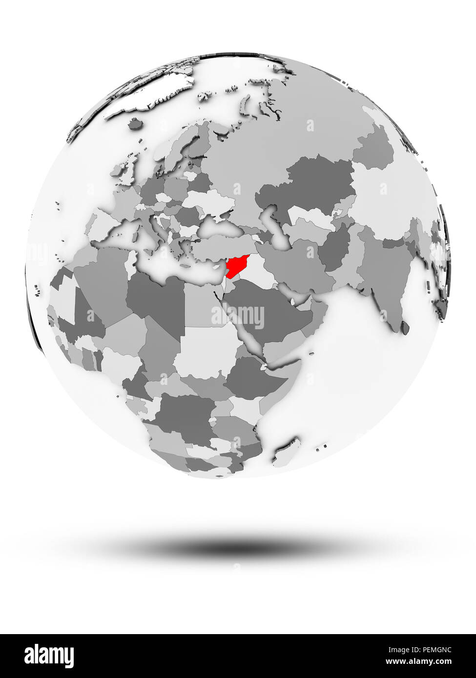 Syria on simple gray globe with shadow isolated on white background. 3D illustration. - Stock Image