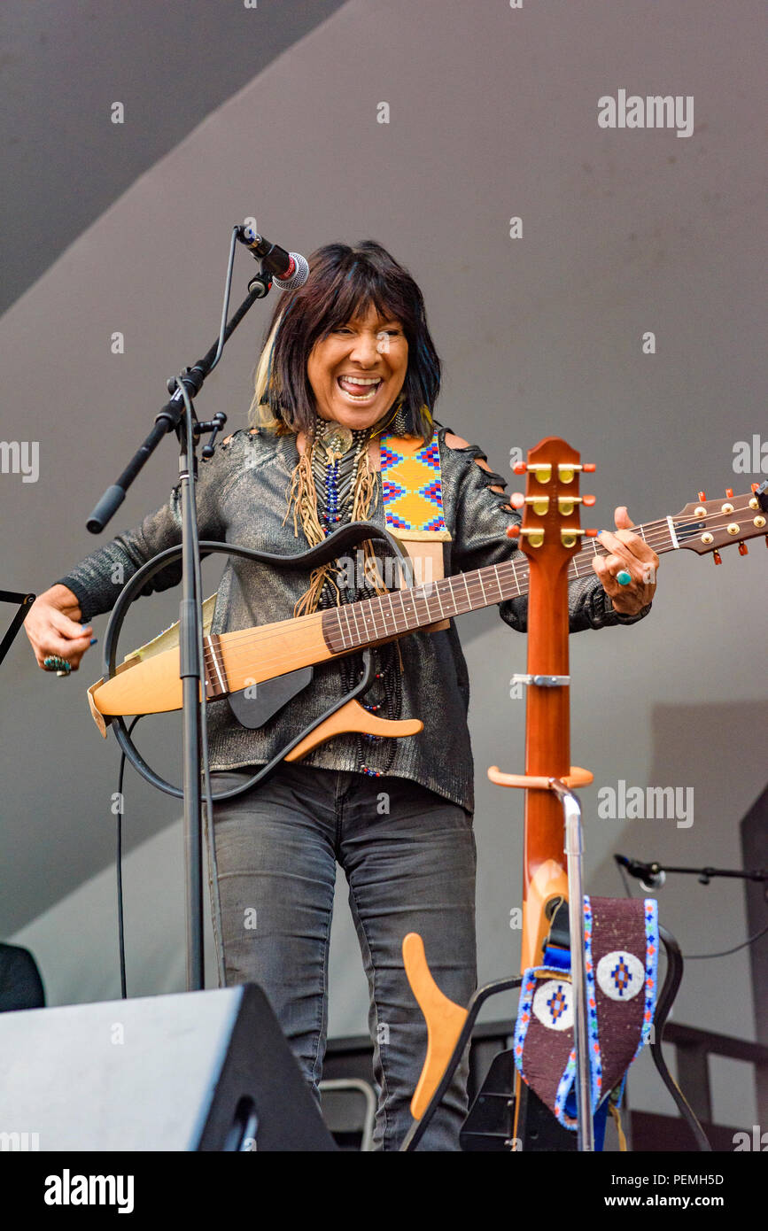 Singer songwriter Buffy Sainte-Marie  at Edmonton Folk Music Festival, Edmonton, Alberta, Canada. Stock Photo