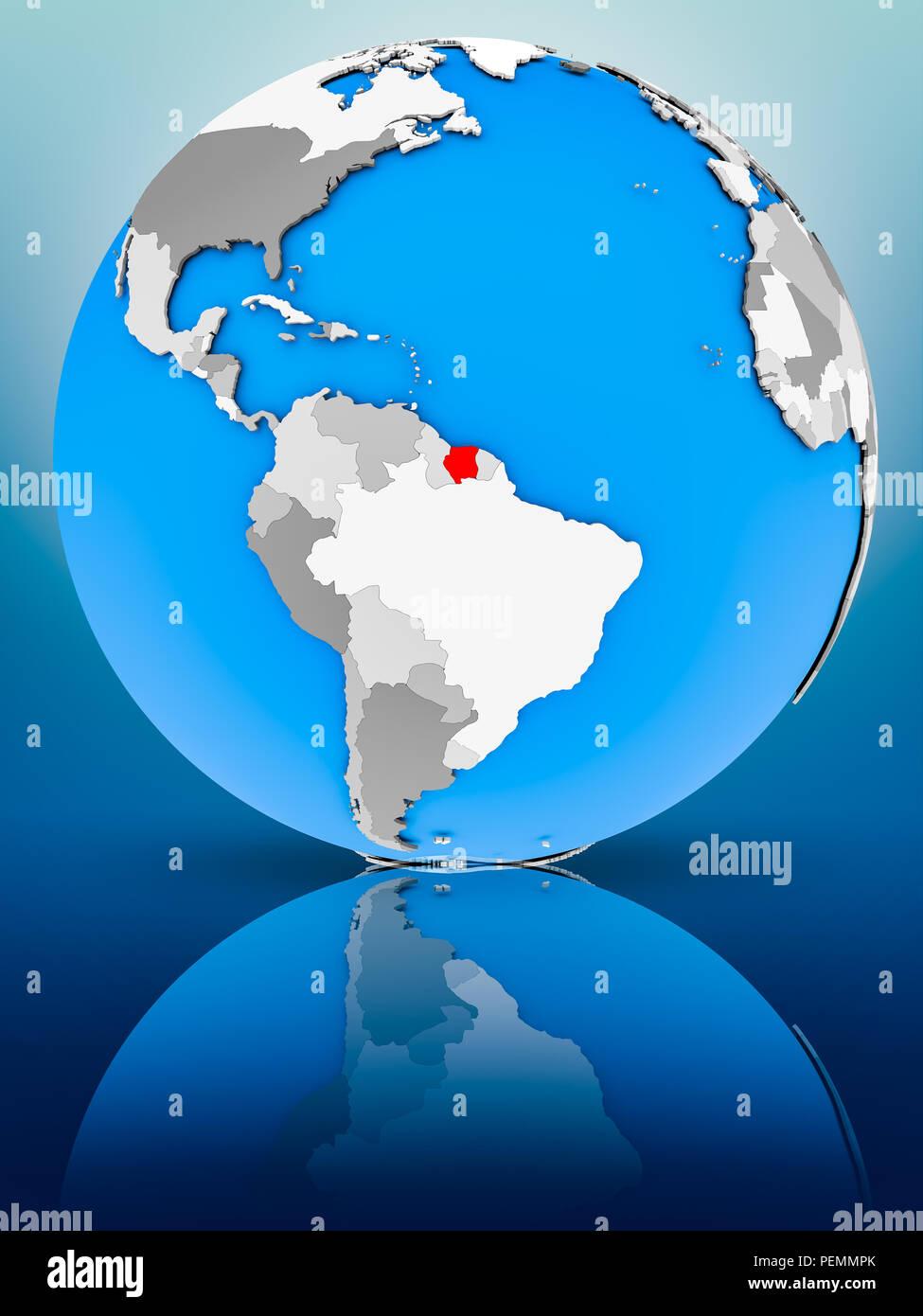 Suriname on globe reflecting on surface. 3D illustration. - Stock Image