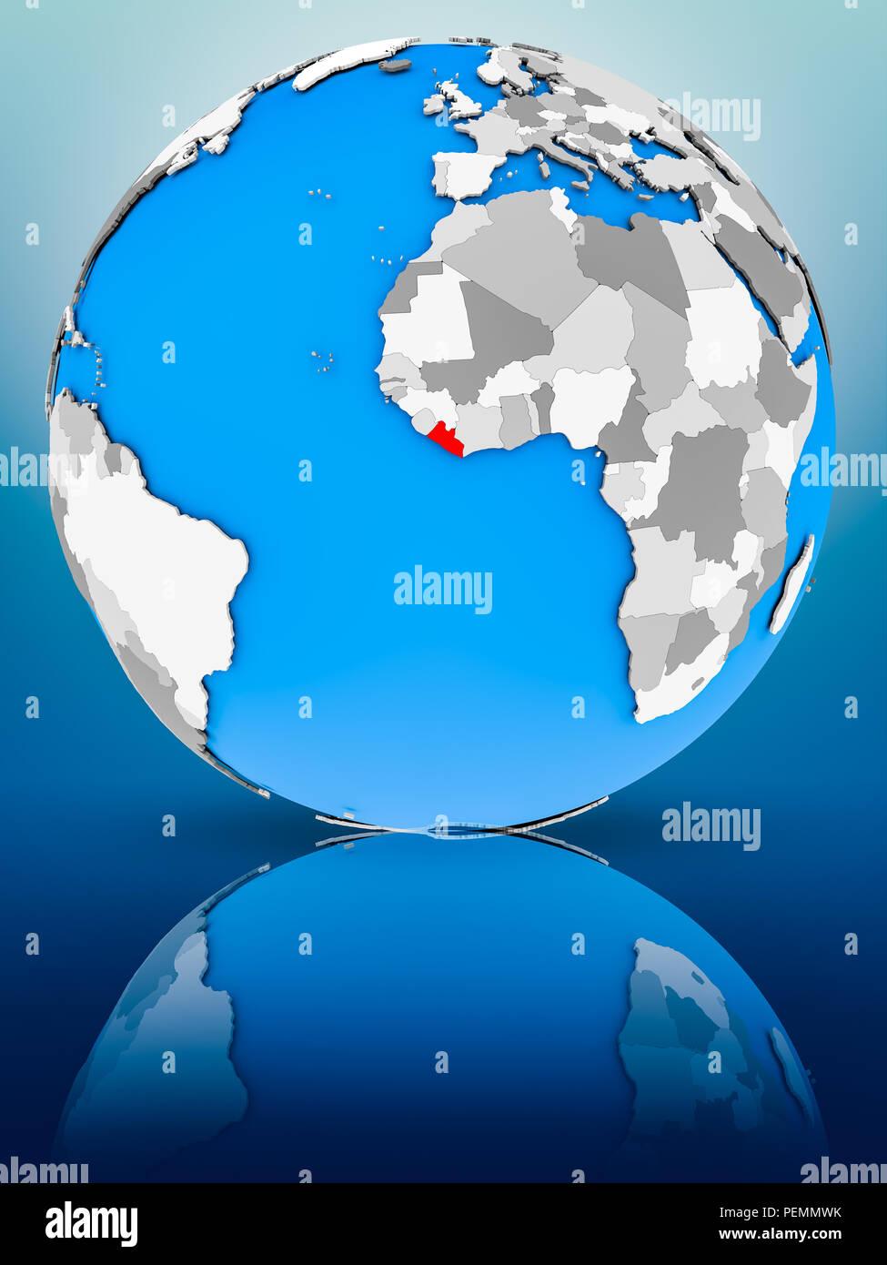 Liberia on globe reflecting on surface. 3D illustration. - Stock Image