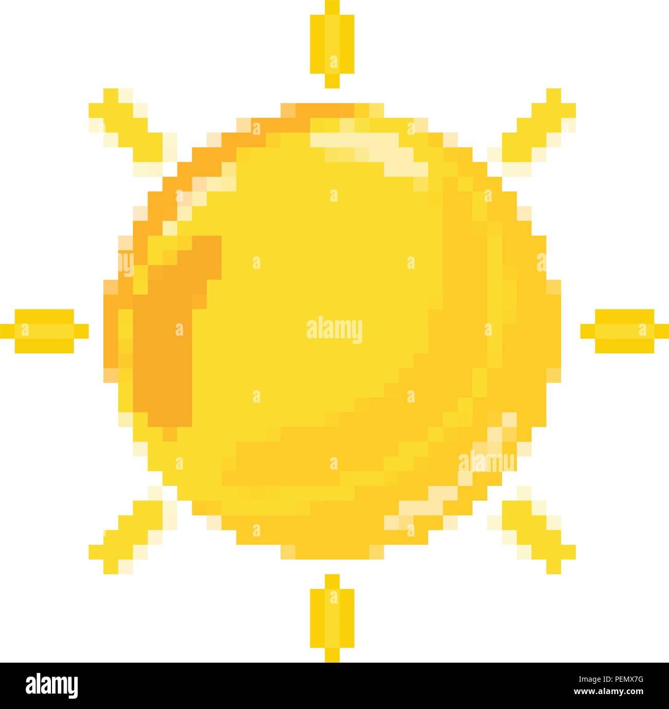 pixelated shine sun hot weather - Stock Vector