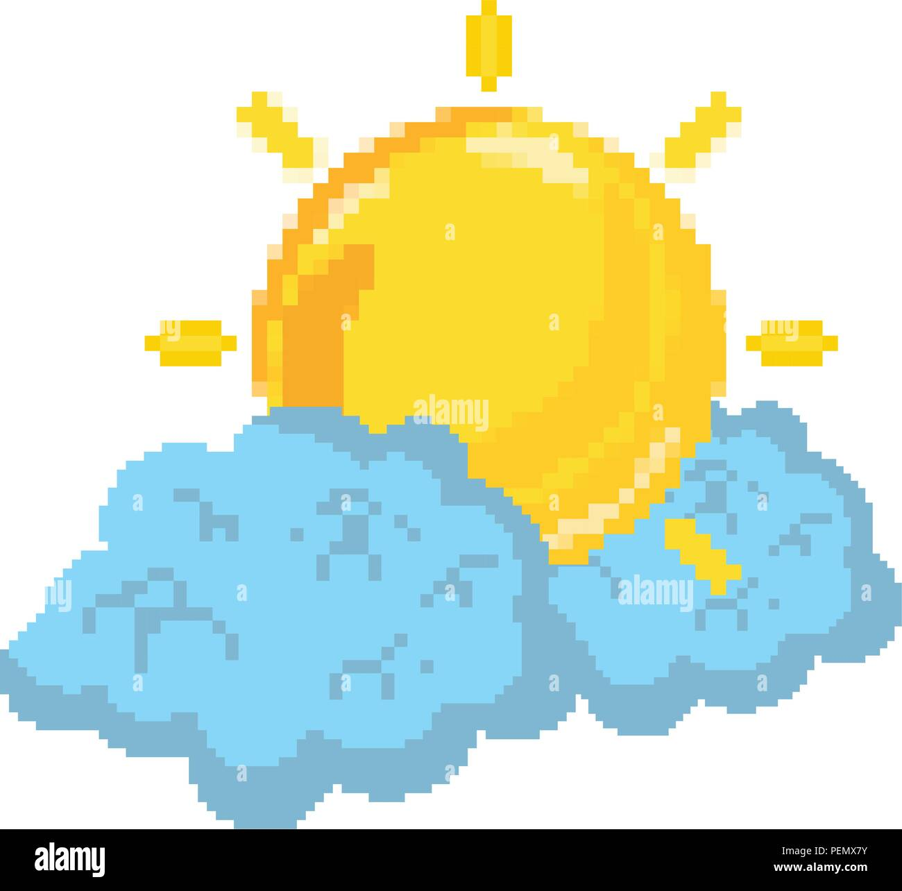 pixelated bright sun weather and fluffy clouds - Stock Image