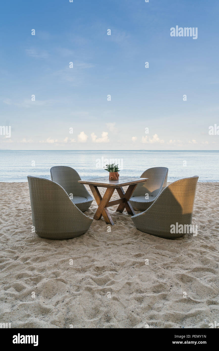 Beach Chairs in beach restaurant on summer island in Phuket, Thailand. Summer, Travel, Vacation and Holiday concept. Stock Photo