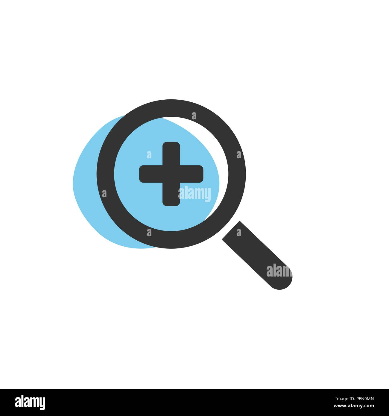 Magnifying glass plus zoom isolated web icon. Vector illustration - Stock Image