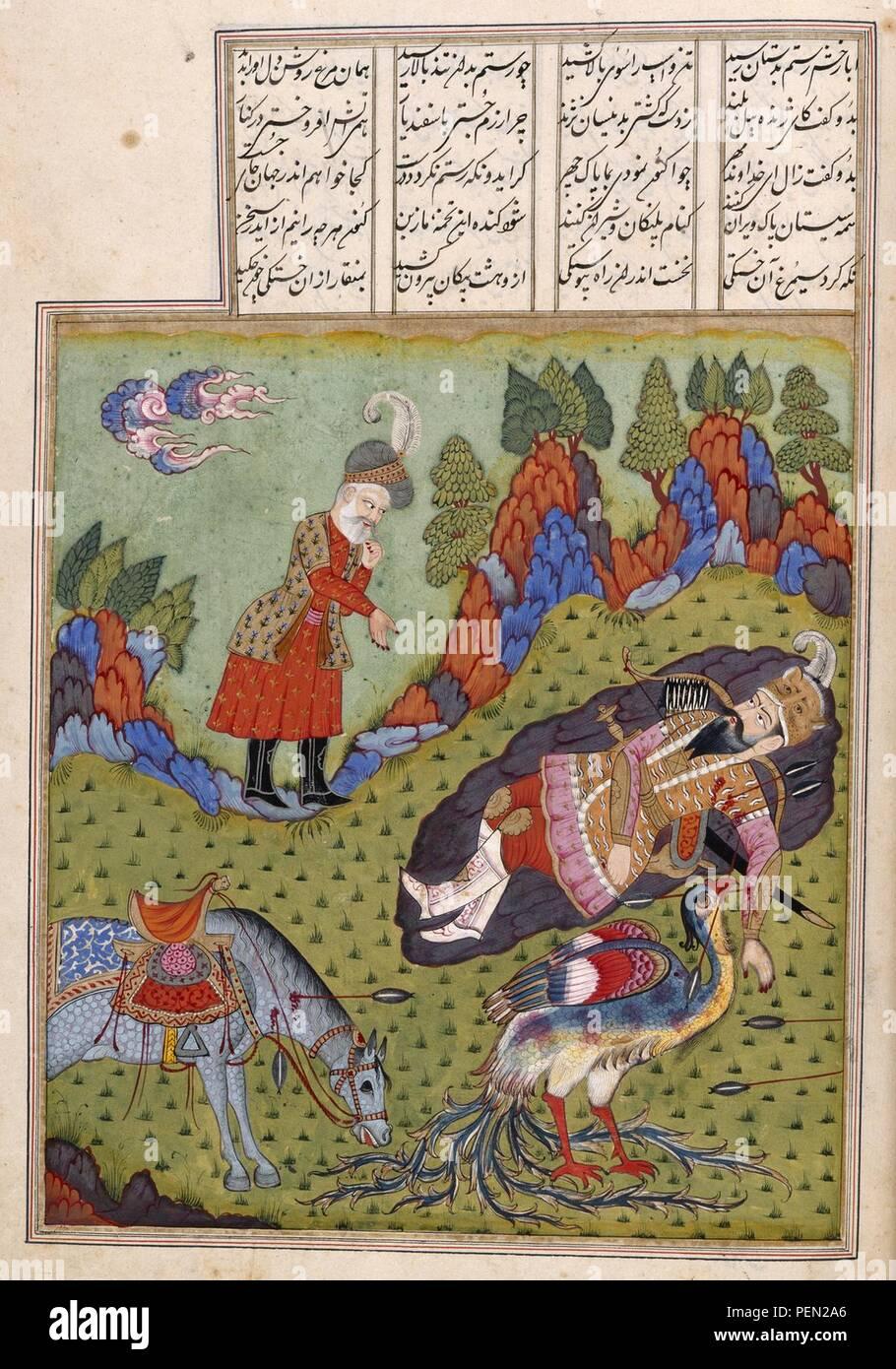 Shahnama. - caption  'The simurgh healing Rustam' - Stock Image