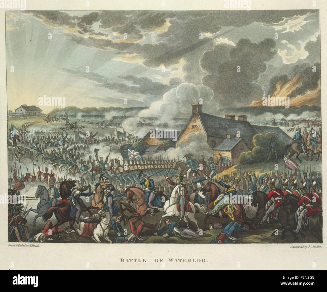The wars of Wellington, a narrative poem ... - caption  'The Battle of Waterloo, June 18th 1815. Depicting Arthur Wellesley, the Duke of Wellington. The defeat of the French forces of Napoleon Bonaparte. The last major battle of t 0386. - Stock Image