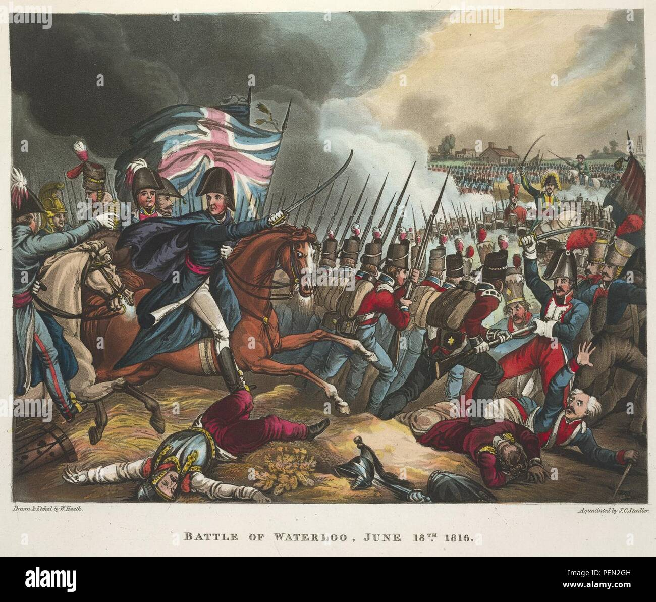The wars of Wellington, a narrative poem. - caption  'The Battle of Waterloo, June 18th 1815. Depicting Arthur Wellesley, the Duke of Wellington. The defeat of the French forces of Napoleon Bonaparte. The last major battle of the  0393. - Stock Image