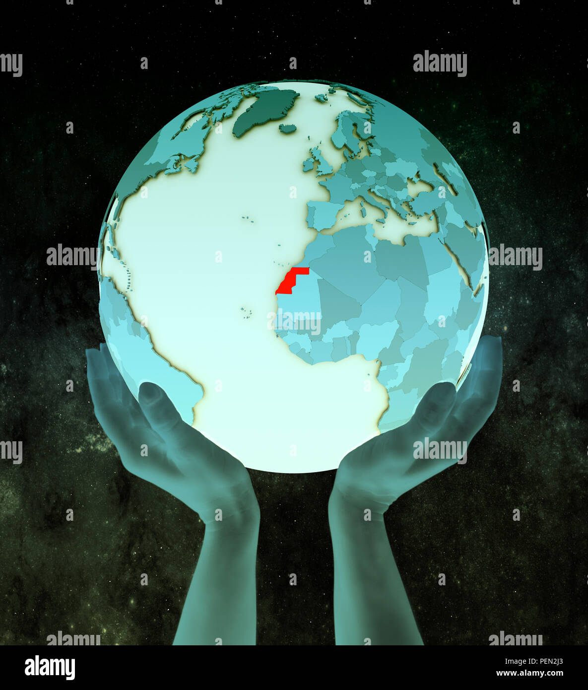 Western Sahara on shiny blue globe in hands in space. 3D illustration. - Stock Image
